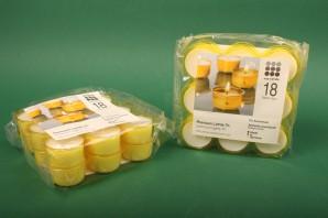 Premium Teelichte 7h, 18 Stück, gelbe Hülle