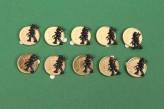 10x Glückscent Feger Glücksbringer Silvester Tischdeko Geschenk vergoldet